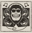 cool music monkey grunge t-shirt printing vector image