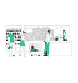 customers stand in line at grocery or supermarket vector image