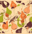 fall seamless pattern fruits and birds vector image vector image