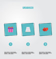 flat icons present love patisserie and other vector image vector image