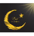 Gold crescent ribbon moon vector image vector image