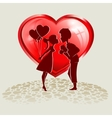 guy with the girl on a background of red vector image vector image