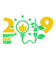 happy new year 2019 background with eco elements vector image