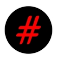 Hashtag sign Red icon vector image vector image
