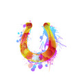horseshoe made colorful grunge splashes vector image vector image