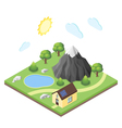 isometric 3d house in mountains vector image vector image