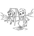 Kids at the playground cartoon coloring page