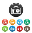 lunch bag icons set color vector image vector image