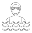Man in a diving suit icon simple style vector image vector image