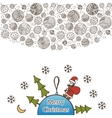 Merry christmas balls doodle pattern Santa Claus vector image vector image
