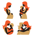 Mother silhouette with baby vector image vector image
