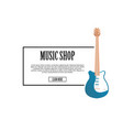 music shop banner with classic acoustic guitar vector image vector image