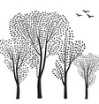 nature background trees and birds silhouette card vector image vector image