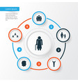 people icons set collection of male group vector image