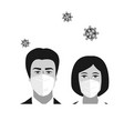 people woman and man faces with medical masks vector image vector image