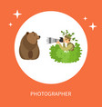 photographer hiding in bushes taking photo of bear vector image vector image