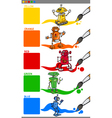 primary colors with cartoon robots vector image