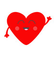 red heart face head with hands cute cartoon vector image