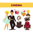 retro cinema movie cinematography poster of actors vector image vector image