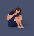 sad crying lonely young woman sitting on floor vector image