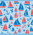 seamless abstract sea background sailboats on a vector image