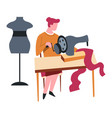 seamstress isolated female character sewing vector image vector image