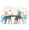 senior couple spending time in cafe vector image