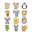 set animals cute tender isolated icon vector image vector image