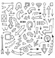 set hand-drawn arrows for mind maps schemes vector image