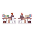 set of male teacher working at desk rear front vector image vector image