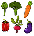 Set of six cute hand drawn vegetables vector image vector image