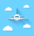Simple icons of plane and clouds with long shadows vector image