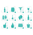 stylized wine icons vector image vector image