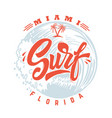 surf lettering phrase on background with sea wave vector image vector image