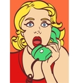 surprised comic woman with phone Pop art style in vector image vector image