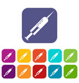 syringe with needle icons set flat vector image vector image