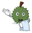 waiter durian mascot cartoon style vector image