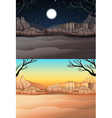 Nature scene with desert at day and night vector image