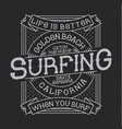surfing typography t-shirt graphics vector image