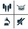 audio icons set collection of silence phonograph vector image vector image