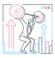 businessman lifting a heavy bar - line design vector image