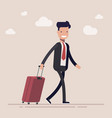 businessman or a manager comes with a suitcase for vector image vector image