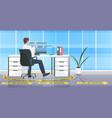 businessman sitting at workplace desk social vector image vector image