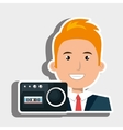 businessman with radio isolated icon design vector image vector image
