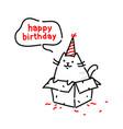 cartoon funny cat congratulates on his birthday vector image