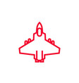 combat aircraft icon linear style vector image