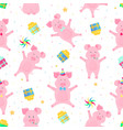 cute pigs having fun funny piglets celebrate vector image vector image