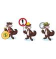 Dark Brown Polecat Mascot with sign vector image