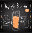 dring poster cocktail tequila sunrise for vector image vector image