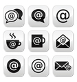 Email internet cafe wifi buttons set vector image vector image